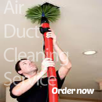 man performing an air duct cleaning service